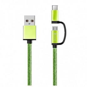 Câble USB vers Micro USB et USB C Ref. 101134 Vert