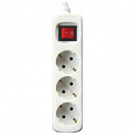 Rallonge 3 prises Schuko avec interrupteur Silver Electronics 3680W Blanc
