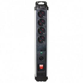 Rallonge 4 prises Schuko avec interrupteur Silver Electronics 3680W Noir