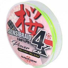 SAKURA Fils Tresses Sensibraid 4 Chart 150 M - 0.16 mm / 11Kg