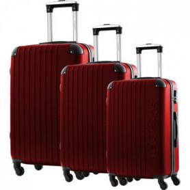 JLS Set de 3 Valises Chariot ABS 4 Roues 75 Rouge