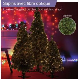 Sapin vert de Noël en PVC - H 80 cm - Fibre optique