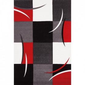DIAMOND Tapis de salon 80x150 cm rouge, gris, noir