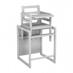 AT4 Chaise Haute Bois Transformable et Moderne Blanc